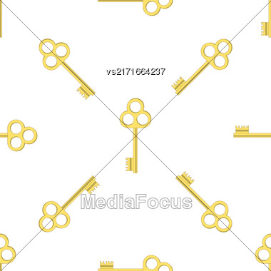 Yellow Keys Isolated On White Background. Seamless Gold Key Pattern Stock Photo