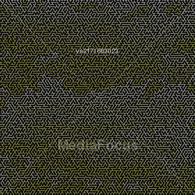 Yellow Labyrinth On Black Background. Kids Maze Stock Photo