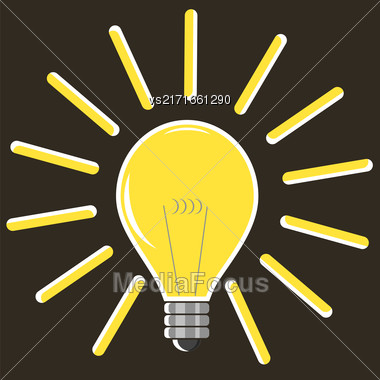 Yellow Lamp Isolated On Brown Background. Included Glass Bulb. Symbol Of Original Ideas Stock Photo