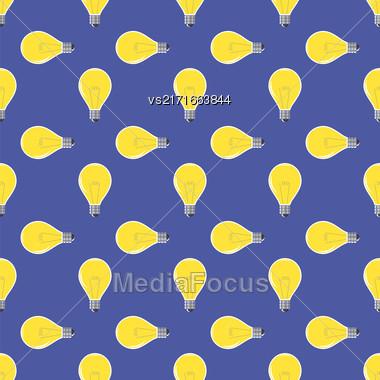 Yellow Lamp Seamless Pattern On Blue. Glass Bulb Background Stock Photo