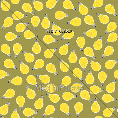 Yellow Lamp Seamless Pattern On Brown. Glass Bulb Background Stock Photo