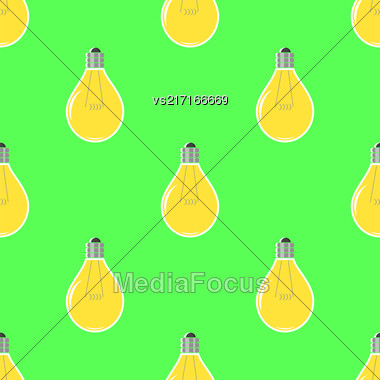 Yellow Lamp Seamless Pattern On Green. Glass Bulb Background Stock Photo