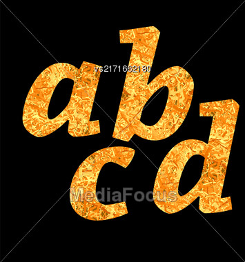 Yellow Letters Of Alphabet Isolated On Black Background Stock Photo