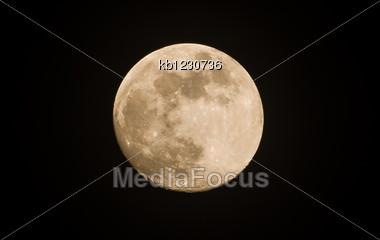 Yellow Light Of Moon On The Dark Background Stock Photo
