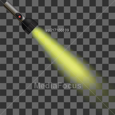 Yellow Light Of Torch Isolated On Checkered Background Stock Photo