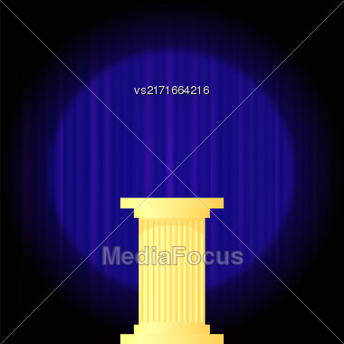 Yellow Marble Greek Column On Dark Blue Wave Background. Ancient Single Pillar Stock Photo