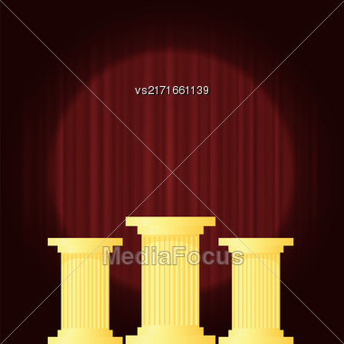 Yellow Marble Greek Columns On Dark Red Wave Background. Ancient Pillars Stock Photo