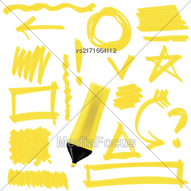 Yellow Marker Isolated On White Background. Set Of Graphic Signs. Arrows, Circles, Correction Lines Stock Photo