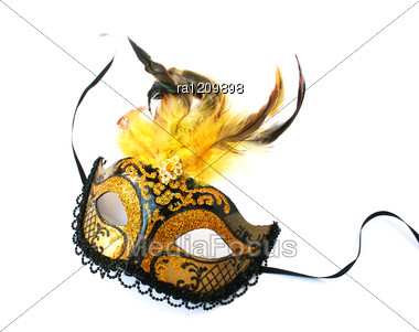 Yellow Mask With Feathers Stock Photo