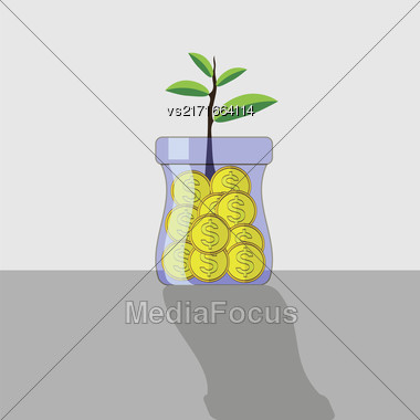 Yellow Metal Coins In Glass Jar. Money Concept Stock Photo
