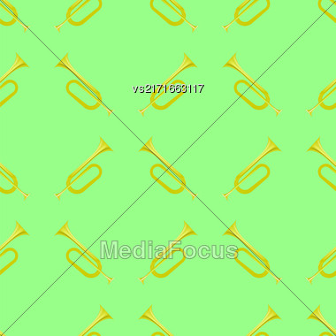 Yellow Musical Horn Seamless Pattern Isolated On White Background. Wind Instrument Stock Photo