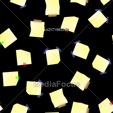 Yellow Note Paper Seamless Pattern On Black Background Stock Photo