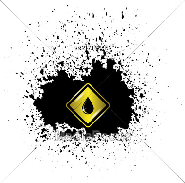 Yellow Oil Icon On Oil Blot. Oil Splash Isolated On White Background Stock Photo