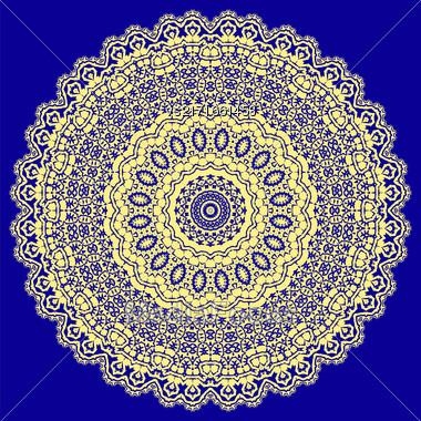Yellow Ornamental Line Pattern. Oriental Geometric Ornament Stock Photo