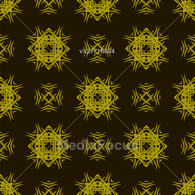 Yellow Ornamental Seamless Line Pattern On Dark Background. Endless Texture. Oriental Geometric Ornament Stock Photo