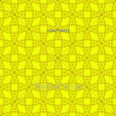 Yellow Ornamental Seamless Line Pattern. Endless Texture. Oriental Geometric Ornament Stock Photo