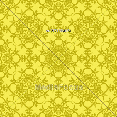 Yellow Ornamental Seamless Line Pattern. Endless Texture. Oriental Geometric Ornament Stock Photo