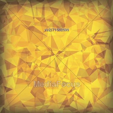 Yellow Polygonal Background. Yellow Crystal Triangle Pattern Stock Photo