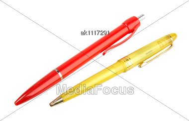 Yellow And Red Ball Point Pens. Close-up Stock Photo