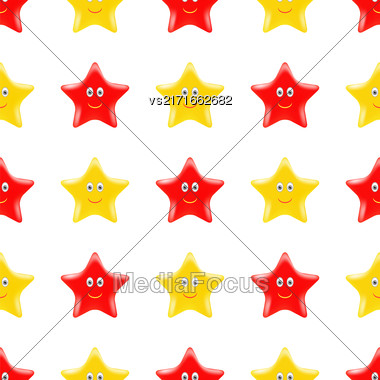 Yellow Red Star Seamless Pattern. Smiling Star Isolated On White Background Stock Photo