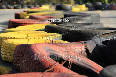 Yellow And Red Tires On Race Track. Stock Photo