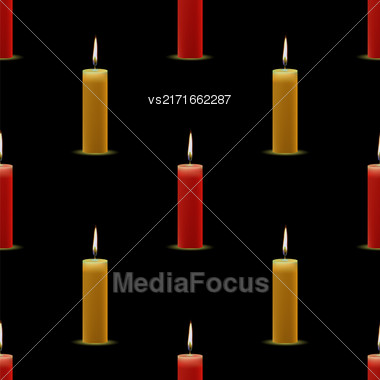 Yellow Red Wax Burning Candles Seamless Pattern On Black Background Stock Photo