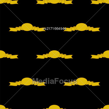 Yellow Ribbons Seamless Pattern On Black. Banner Background Stock Photo