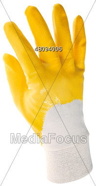 Yellow Rubber Glove Stock Photo