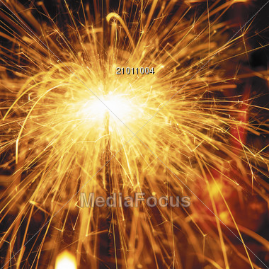 Yellow Sparklers, Close-Up Stock Photo