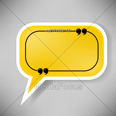 Yellow Speech Bubble Isolated On Grey Background Stock Photo