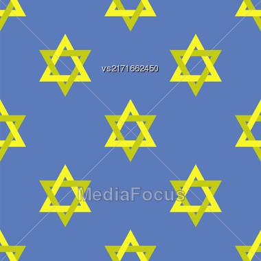 Yellow Star Of David Isolated On Blue Background. Seamless Pattern Stock Photo