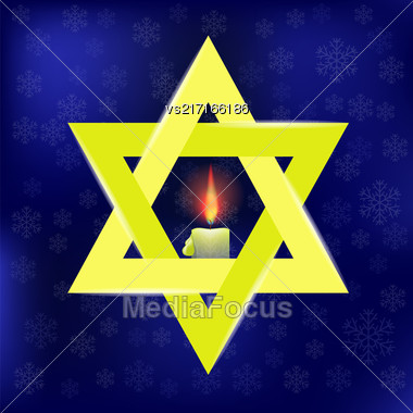 Yellow Star Of David And Burning Candles Isolated On Blue Snowflakes Background Stock Photo