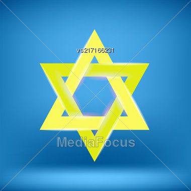 Yellow Star Of David Isolated On Blue Background Stock Photo