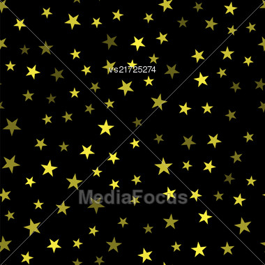 Yellow Star Seamless Pattern Isolated On Black Background Stock Photo