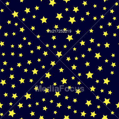 Yellow Star Seamless Pattern Isolated On Blue Background Stock Photo