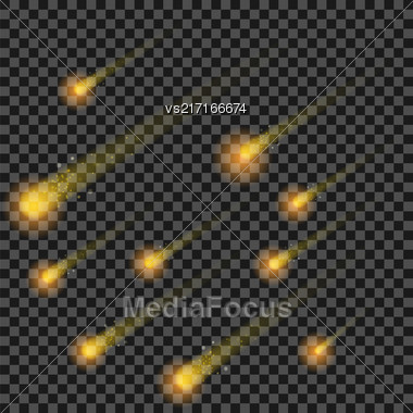Yellow Stars Isolated On Checkered Background. Hight Sky. Shooting Celestial Comets. Meteor Shower. Meteorites Falling Stock Photo