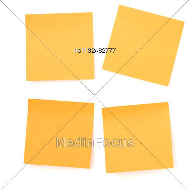 Yellow Sticky Memo Paper Isolated On White Background Stock Photo