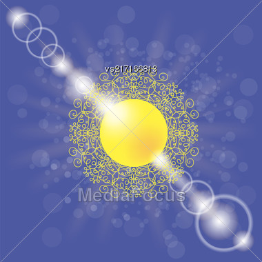 Yellow Summer Sun On Blue Sky Background Stock Photo