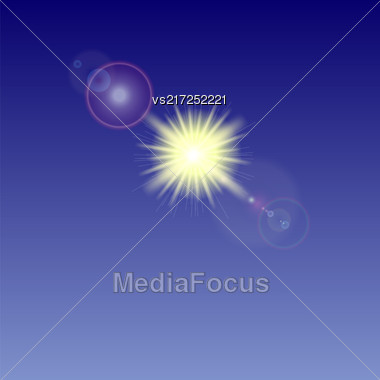 Yellow Sun Background. Summer Pattern. Blue Sky With Sunshine. Sunburst With Flare And Lens Stock Photo