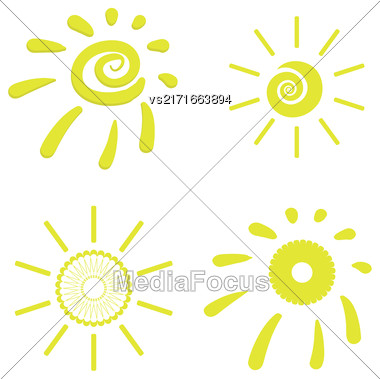 Yellow Sun Icons Isolated On White Background Stock Photo