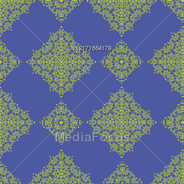 Yellow Texture On Blue. Element For Design. Ornamental Backdrop. Pattern Fill. Ornate Floral Decor For Wallpaper. Traditional Decor On Blue Background Stock Photo