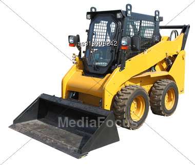 Yellow Truck With A Scraper To Lift Cargo. Stock Photo