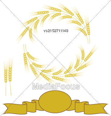 Yellow Wheats Frame Isolated On White Background Stock Photo