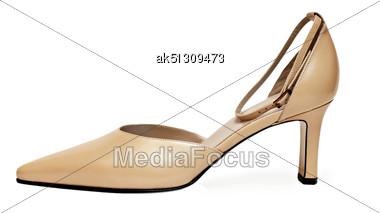 Yellow Woman Shoe Stock Photo