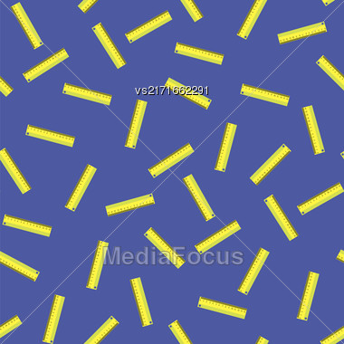 Yellow Wooden Ruler Seamless Pattern On Blue Background Stock Photo