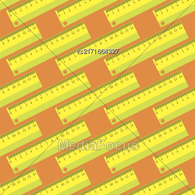 Yellow Wooden Ruler Seamless Pattern On Orange Background Stock Photo