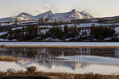 Yellowstone National Park Mountain Reflection Sunrise Sunset Stock Photo