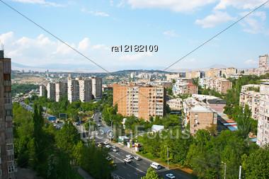 Yerevan City View From Altitude In Armenia. Stock Photo