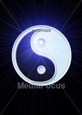 Ying Yang Symbol On Blue Background Stock Photo
