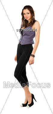 Young Alluring Lady Posing In Tight Black Leggings. Isolated On White Stock Photo